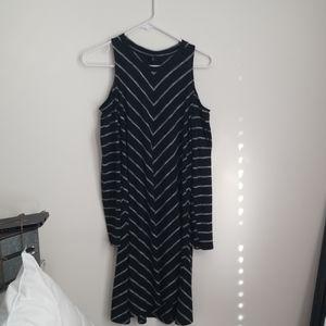 Black striped shoulder-less dress